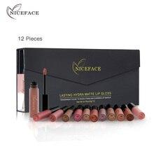 NICEFACE 12Pcs/Set Matte Long Lasting Lipstick 12 Colors Lip Gloss Waterproof Lip stick 5gx12 Beauty Lips Makeup Lipstick BLWS