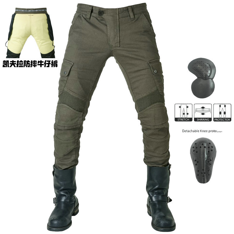 cheapest New Kevlar Motorcycle Pants Men Motocross Pants Biker Motorcycle Jeans Protective Gear Riding Motorbike Pantalones Moto Pants