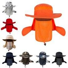 Chapeau de soleil coupe-vent pour l'extérieur, châle amovible, casquette en maille respirante, cyclisme, randonnée, Camping, casquettes à rabat pour pêcheurs en plein air