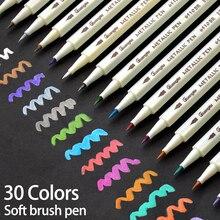 30 צבעים מתכתי רך מברשת מרקר עט DIY רעיונות אמנות ציור תמונה אלבום רעיונות מלאכות כרטיס ביצוע