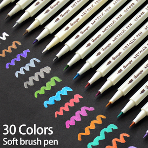 Image 1 - 30Colors Metallic Soft Brush Marker Pen DIY Scrapbooking Crafts For Drawing Photo Album Scrapbooking Crafts Card Making