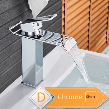 Rozin Waterfall Bathroom Sink Faucet Deck Mount Hot Cold Water Basin Mixer Taps Polished Chrome Lavatory Sink Tap 11