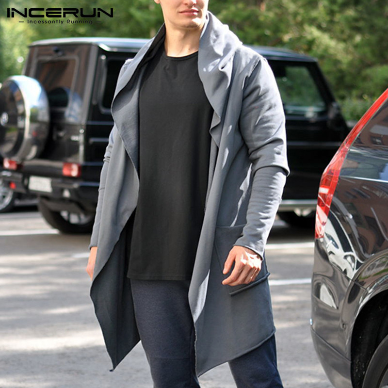INCERUN Mens Chic Jackets Spring Autumn Hooded   Trench   Cardigan Pure Color Social Loose Men Long Coat Hoodies Masculino Abrigos
