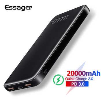 Essager 20000mAh batterie externe Charge rapide QC 3.0 USB type C PD Powerbank pour Xiao mi Samsung chargeur Portable batterie externe