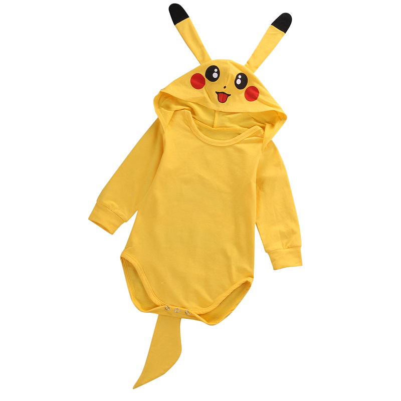 Newborn Clothes Toddler Baby Girl Boy Pokemon Pikachu Rompers Jumpsuit Outfits Cosplay Costume Yellow Bodysuit Lovely Ear Dec