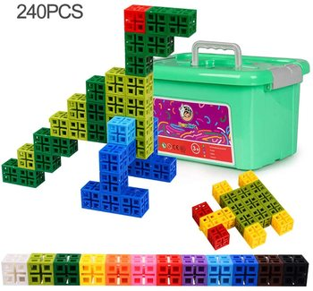 240PCS Children Cube Building Blocks Educational Stacking Construction Toy Kit Plastic Assembled Toys for Kindergarten Kids nfstrike upgraded electronic building blocks diy toy assembled bricks toy circuits baby kids early educational development toys