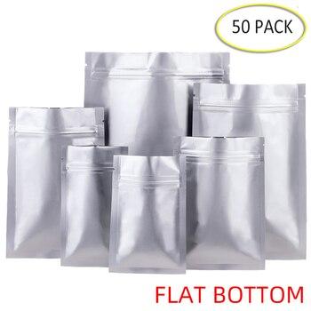Bolsas Ziplock de fondo plano de papel de aluminio de 50 Uds. Bolsa de sellado al vacío para almacenamiento de alimentos grueso embalaje de alimentos té evitar la luz