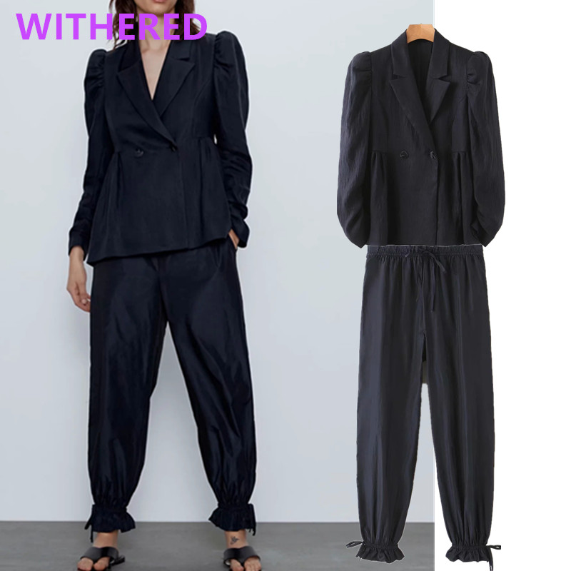 Withered England Style Solid Vintage Puff Sleeve Texture Pleated Blazer Women Jackets Leg Loop Harem Pants Women Trousers Women