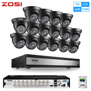 ZOSI 1080P AHD TVI аналоговая 16CH CCTV система видеонаблюдения рекордер DVR комплект Водонепроницаемая Видео камера ночного видения наружная камера