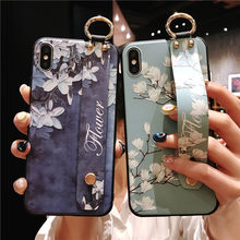 Flowers Wrist Strap Phone Case For iphone XS Max X XR 8 7 6 6S Plus Cover Hand Band holder Case Soft TPU Relief Coque Stand Capa(China)
