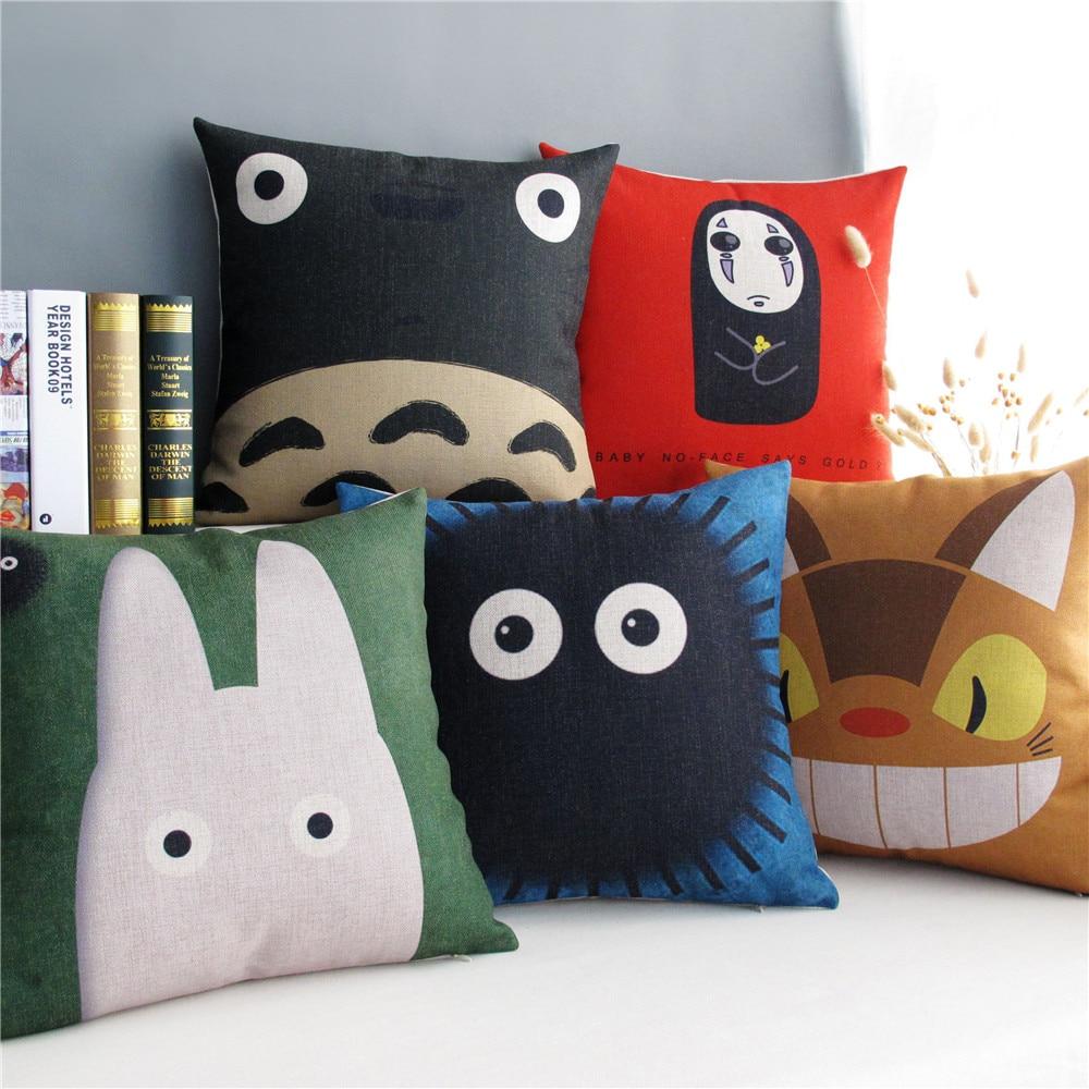 Home Decorative Cushion Cover Pillow Case Japan Hayao Miyazaki Totoro Series Cat Pattern Linen Cotton Cushions