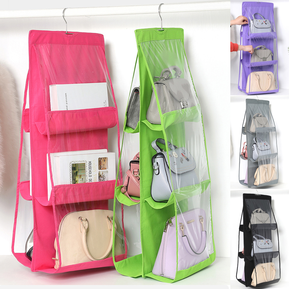 Non-woven Hanging Handbag For Wardrobe Closet Transparent Storage Bag Door Wall Clear Sundry Shoe Bag With Hanger Pouch 6 Pocket