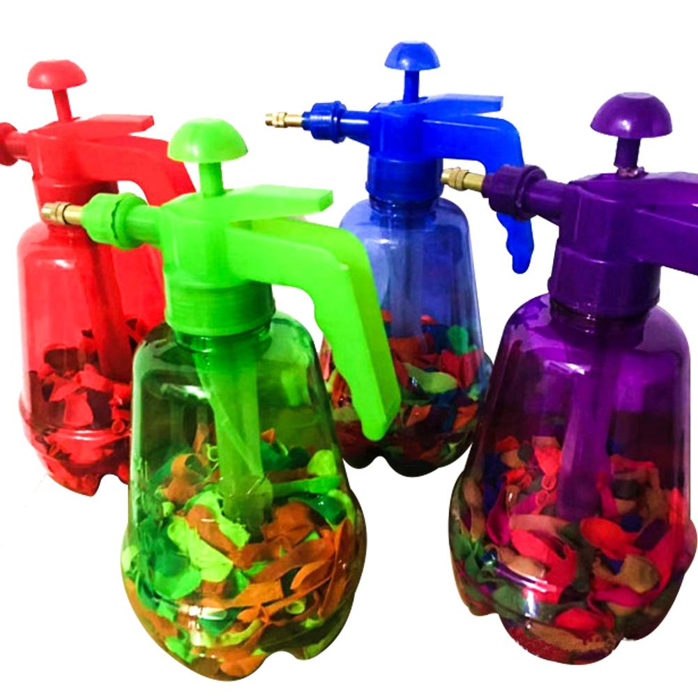 300 Pcs Children's Innovative Water Balloon Portable Filling Station 3 In 1 Pump Bottle Manual Water Inflation Ball Toy Balloon