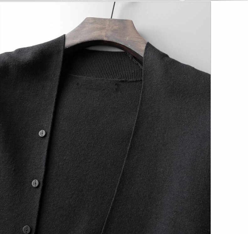 QUANBO marka 2019 sonbahar ve kış yeni erkek kazak düz çizgili uzun kollu hırka kazak sonbahar moda sıcak ceket