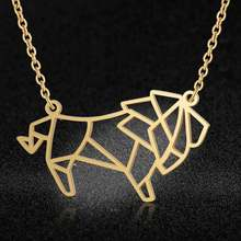 100% Stainless Steel Animal Lion Fashion Necklace for Women Unique Design Pendant Necklaces Wholesale Personality Jewellery(China)