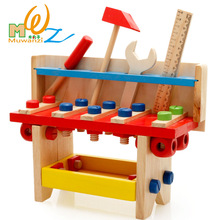 Free shipping Children s kids wooden classic PUZZLE TOOL TABLE Educational toys Baby wood Model Building