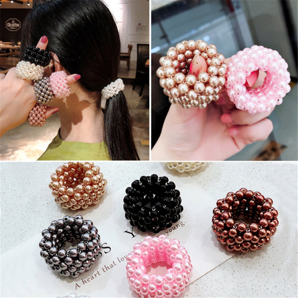 Korean Elegant Imitation Pearl Beads Scrunchies For Woman Fashion Elastic Hair Rope Gum Ponytail Holders Rubber Hair Accessories