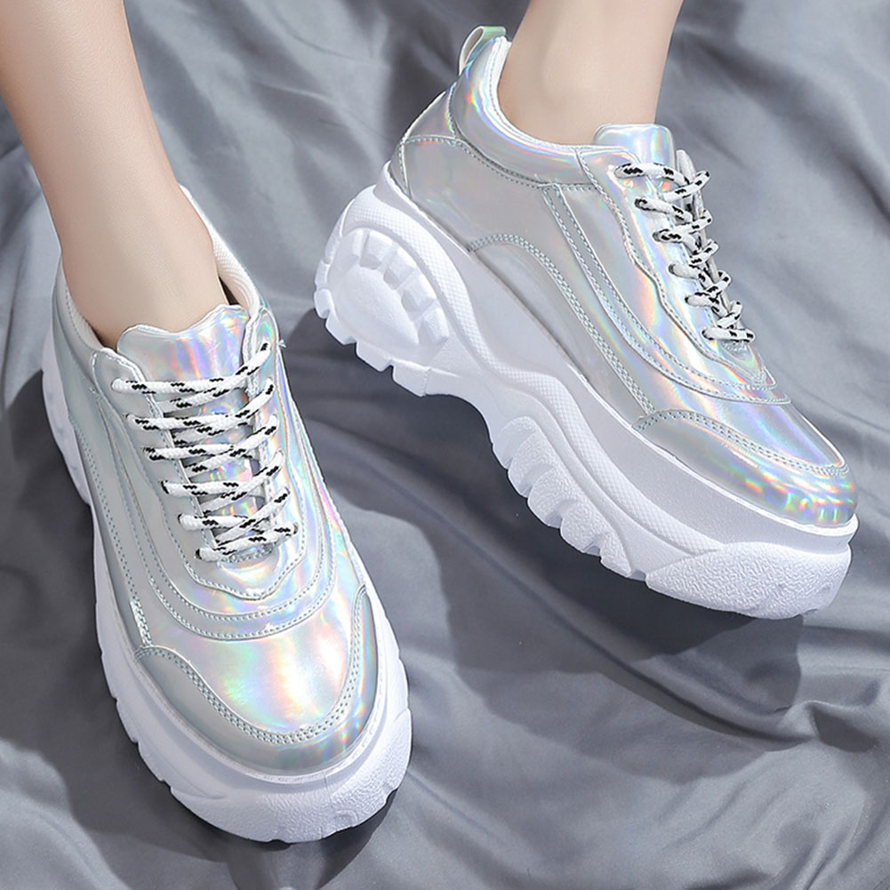 Woman High Platform Metallic Sneakers 10