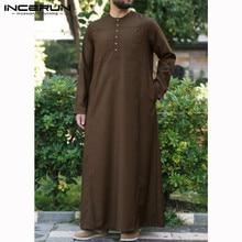INCERUN Jubba Thobe Men Muslim Islamic Kaftan Long Sleeve Solid Pockets Robe Retro Arabic Dubai Middle East Abaya 2019