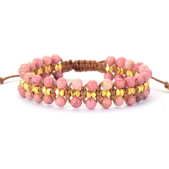 Unique Rhodonite Gold Beads Wrap Bracelets Wholesale Handmade Bohemia Weaving Bracelet Birthday Gift Boho Jewelry Dropship