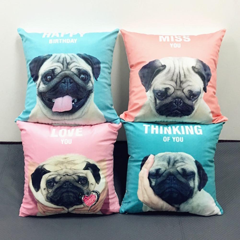 New 45x45cm Pillowcase French Bulldog Throw Pillow Cover Printed Cushion Case Anchor Pattern Marine Throw Pillowcase Breathable in Cushion from Home Garden