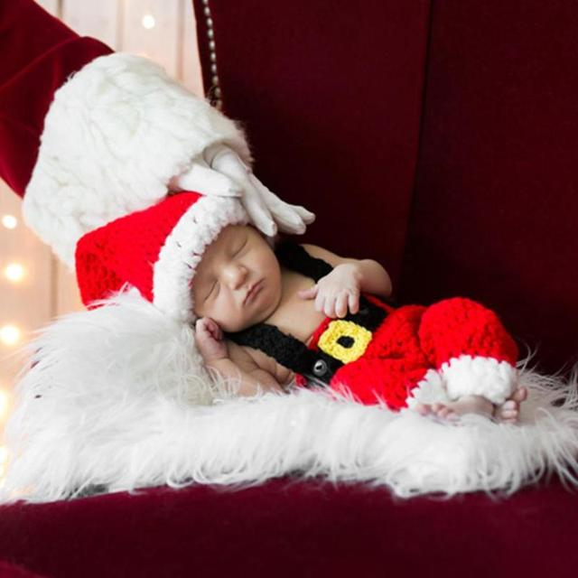 Newborn Infant Christmas Theme Photography Props Clothing Suspender Trousers+Hat European Children's Photographic Costumes 1
