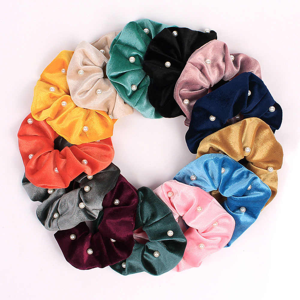 Elegant Fabric Elastic Hair Bands Ladies Christmas Jewelry Pearl Hair Scrunchie