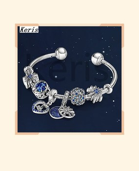 2019 Winter 100% S925 11 New Christmas Blue Dream Star Bright Moon Night Bright Open Sky Bracelet Girl Gift