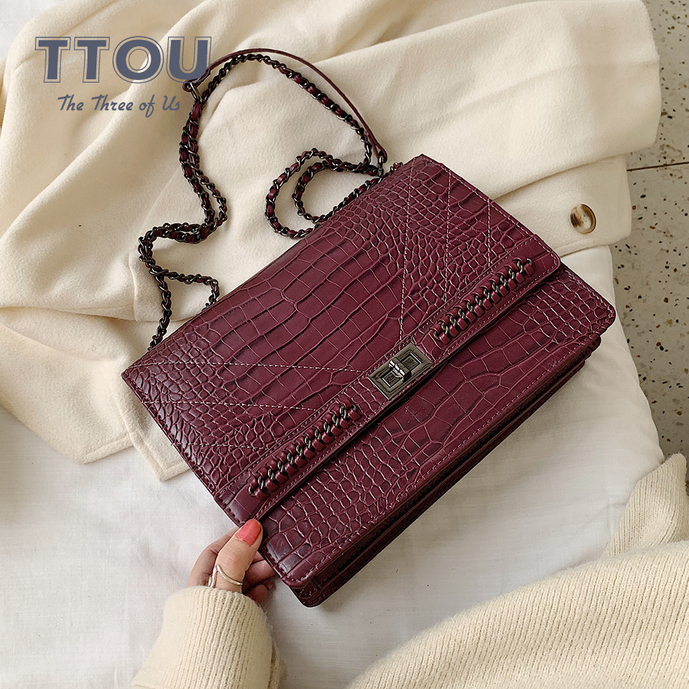 Fashion Crocodile Pattern Messenger Bags With Chain For Women Travel Outwear Quality Designer Pu Leather Female Shoulder Bags