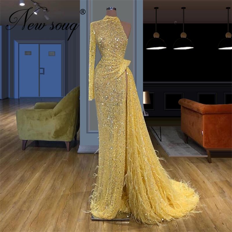 New Arrival Feathers Long Prom Dress 2020 Sparkly Glitter Sequin Gown See Through Party Gowns African Girls Beaded Evening Dress