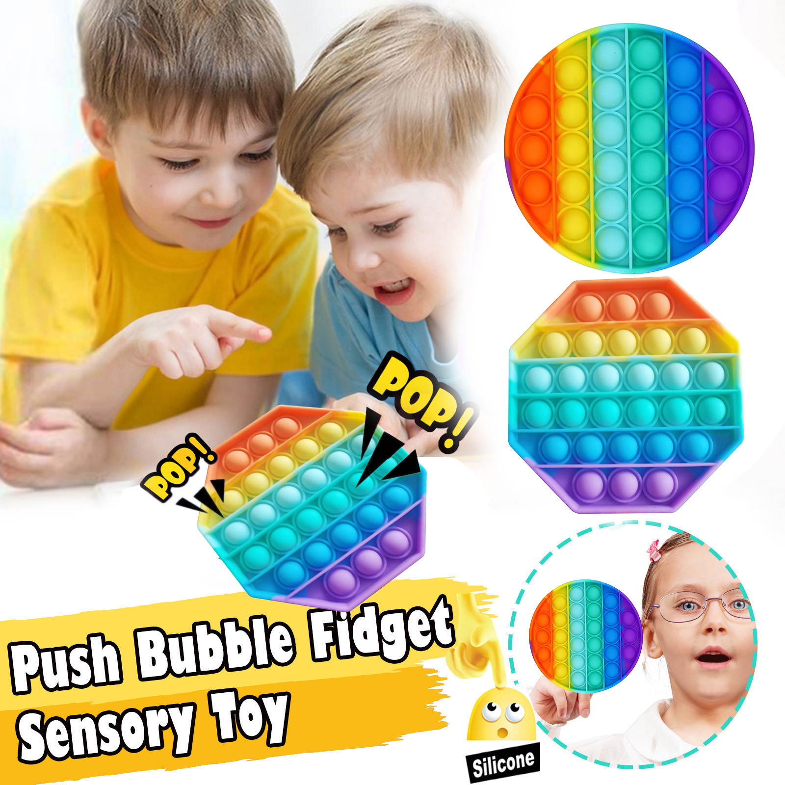 Fidget-Toys Pop It Anti-Stress Rainbow-Color Adults Children Stretchy-Strings Relief img3