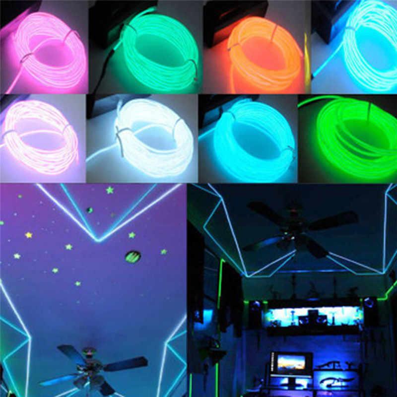 113cm 3V AA kontroler elastyczne Neon światła blask przewód świecący taśmy rury samochód wodoodporny światła neonowe LED buty odzież