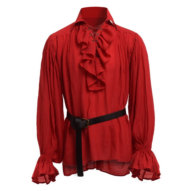 Mens Fashion Retro Puff Sleeve Ruffles Shirts Mens Solid Color Lace Up Slim Fit Pullovers Medieval Performance Costumes 2019 New