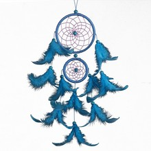 1pc New wall-mounted car pendant double-ring satin line dream catcher home feather crafts Hanging Decoration