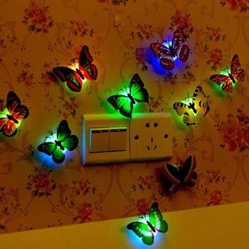 LED Light Night Butterfly Wall Stickers Atmosphere Lamp with Colorful Changing Indoor Light with Suction Pad Home Party Decor image