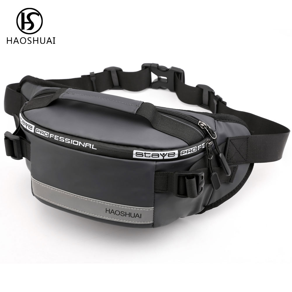 Haoshuai Waist Packs Bag Men Casual Waist Bag Belt Zipper Bag Pochete Masculina Marsupio Donna Bum Bag