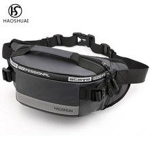 Haoshuai Waist Packs Bag Men Casual Belt Zipper Pochete Masculina Marsupio Donna Bum