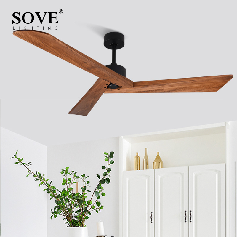 Sove Black Industrial Vintage Ceiling Fan Wood Without Light Wooden Ceiling Fans Decor Remote Control Ventilador De Teto Dc 220v Leather Bag