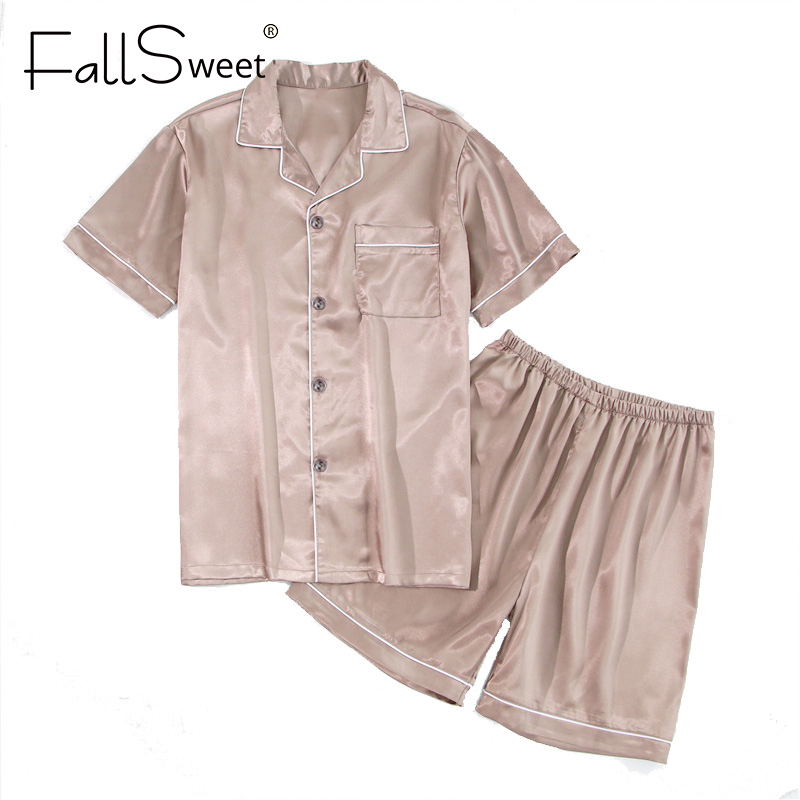 FallSweet Silk Satin Pajamas Set  2 Piece Women Plus SizeSleepwear Pyjamas Suit Female 5XL
