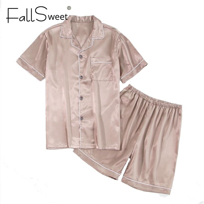 FallSweet Silk Satin Pajamas Set  2 Piece Women Plus SizeSleepwear Pyjamas Suit Female 5XL