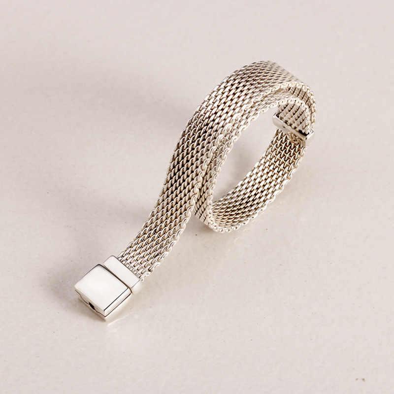 Original 925 Sterling Silber Armband Gewebt Mesh Silber Reflexions Armbänder Armreif Fit Frauen Perle Charme Diy Mode Schmuck