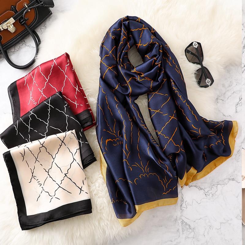 2019 New Style Women Fashion Popular Beach Quality Shawl China Luxury Silk Autumn And Winter Lady Beautiful Print Scarves Hijab