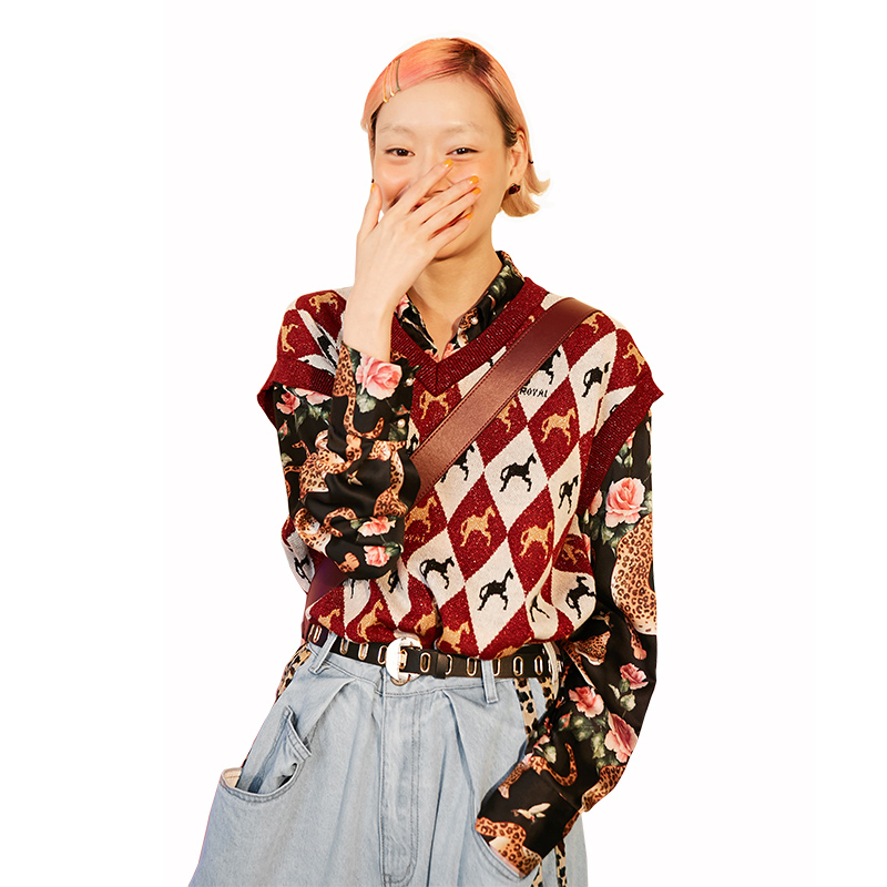 ELFSACK Cotton Vintage Animal Print Women Sweaters,19 Autumn New V-neck Sleeveless Female Knitted Vest Streetwear Casual Tops 25
