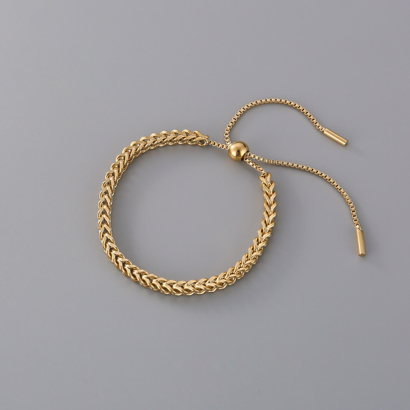 New Design Fashion Stainless Steel Link Chain Bracelets For Women Girl Men Gold Color Hiphop/Rock Adjustable Bracelet Jewelry