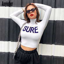 Auyiufar Turtleneck Ribbed Autumn Women Crop Top Long Sleeve Letter Print Casual T-Shirt Skinny Streetwear Pullovers Femme Tops