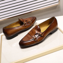 FELIX CHU Summer Autumn Men's Loafers Genuine Leather Hand Painted Monk Strap Men's Dress Shoes Wedding Party Mens Footwear