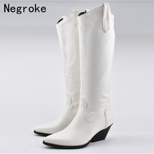 Fashion Women Boots White PU Leather With Thick Heels Long Autumn Winter Fur Plush Knee High Plus Size Booties