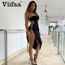 Viifaa One Shoulder Sexy Cut Out Side Asymmetrical Hem Bodycon Dresses Women Ruched Clubwear Midi Party