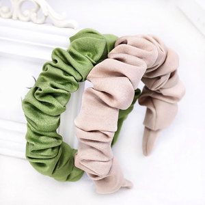 Ruched Fabric Hair Accessories1Pcs Pleated Head Hoop Satin Ruched Solid Color Headwear Women Headband Wide Soft Cloth Hair Hoop