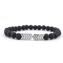 Best Selling Explosions Minimalist Bracelet Natural Lava Rock Aromatherapy and Arrow Charm Accessories